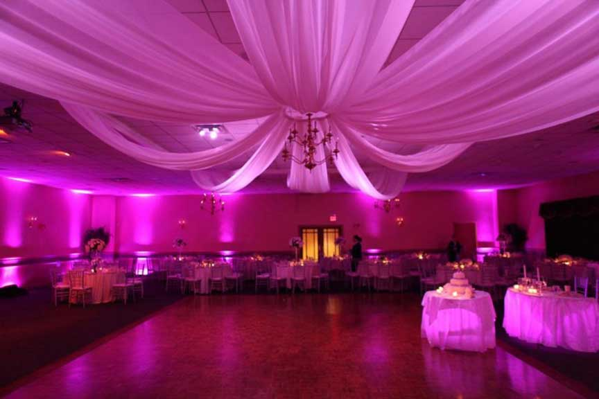 Wedding Uplighting with Ceiling Drapes